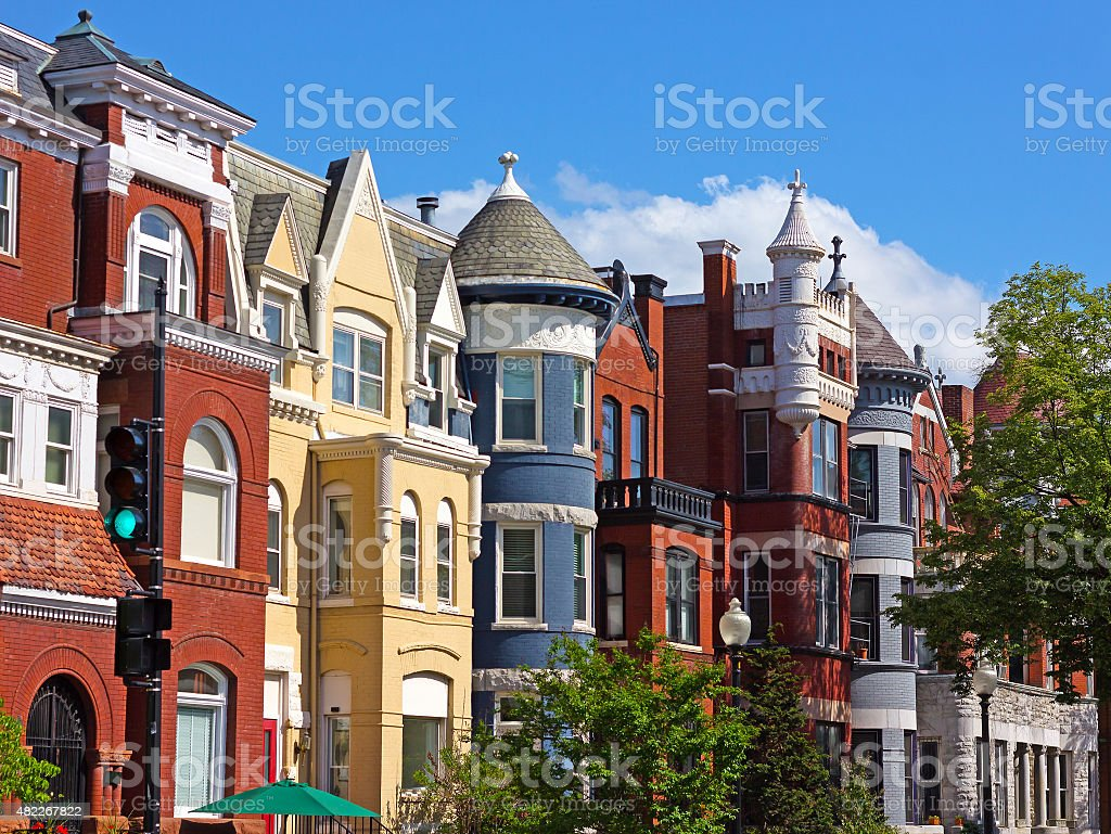 Luxury townhouses of the US capital. stock photo