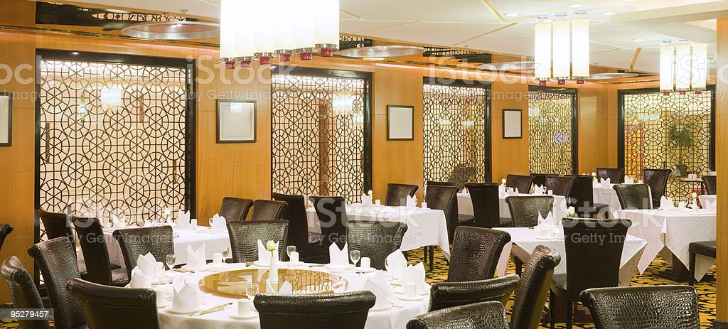 luxury traditional chinese banqueting hall interior stock photo