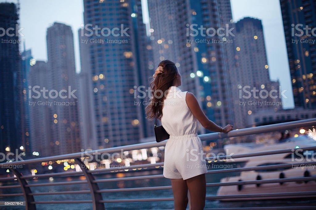 Luxury travel vacation woman. stock photo