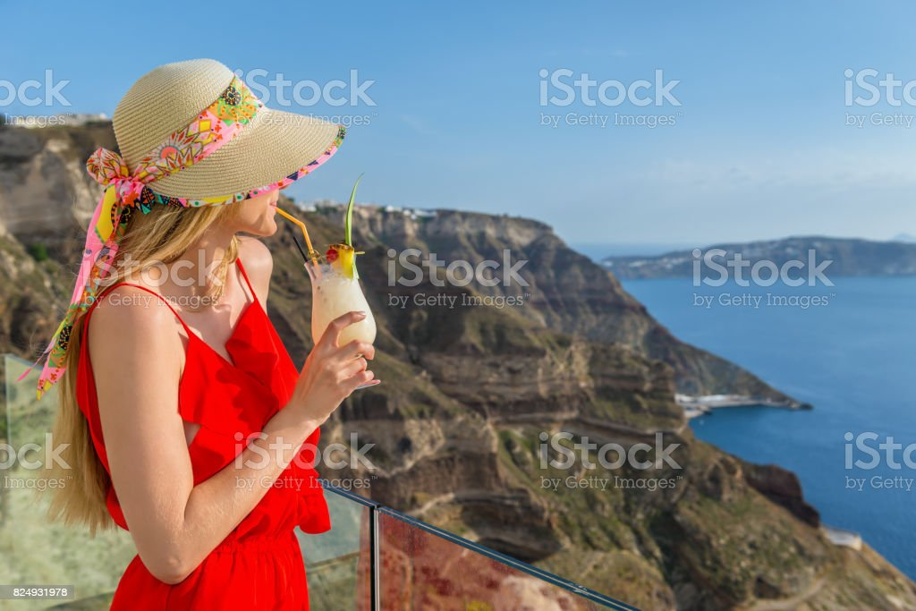 Luxury vacation & cocktail refreshment stock photo