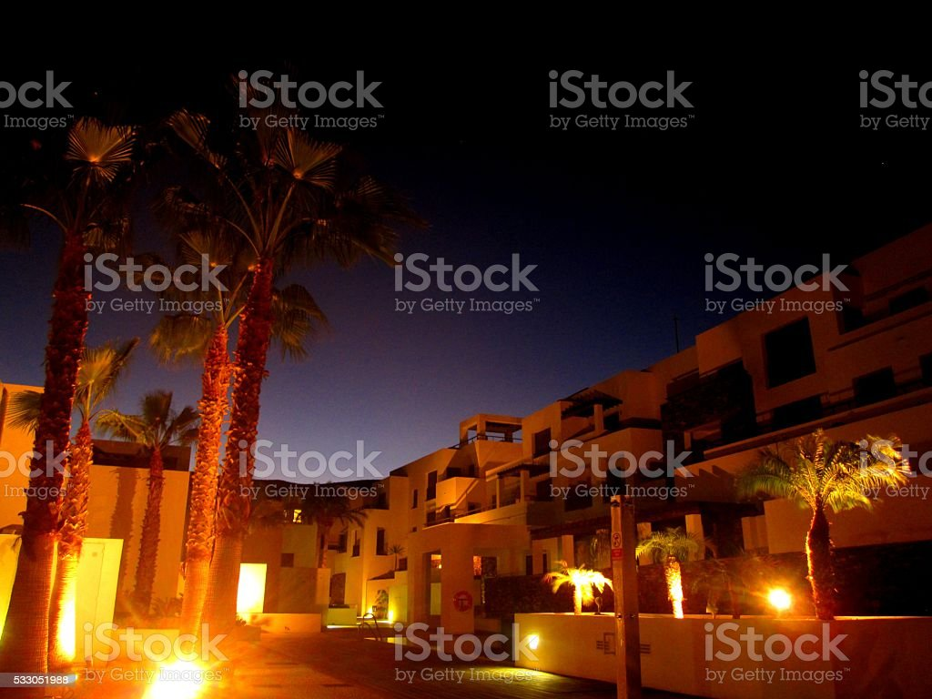 Luxury Villa at Night stock photo