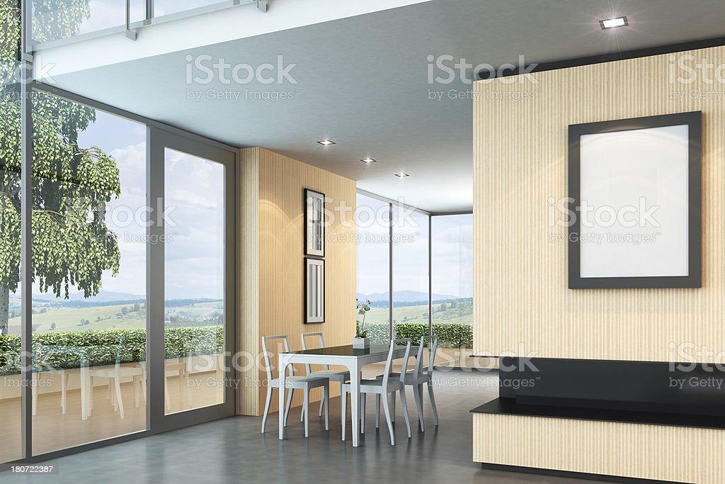 Luxury Villa Interior Dining Room royalty-free stock photo