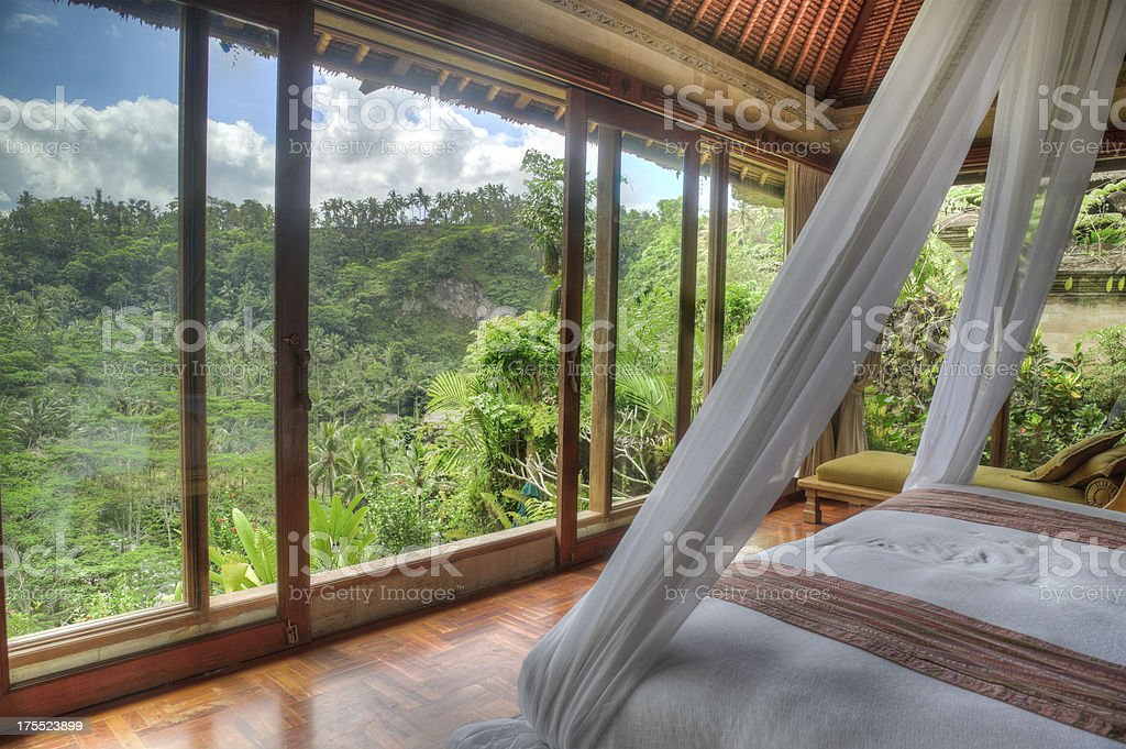 Luxury Villa with jungle view stock photo