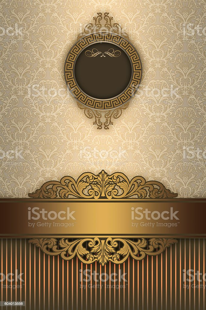 Luxury vintage background with frame and patterns. stock photo