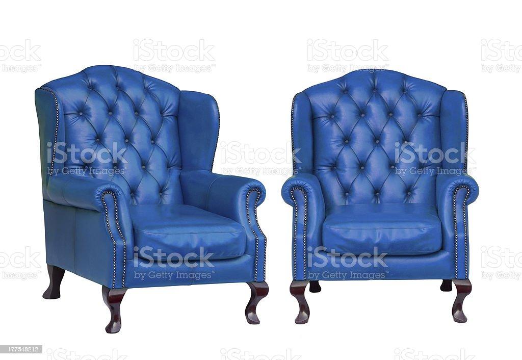Luxury vintage blue armchair stock photo