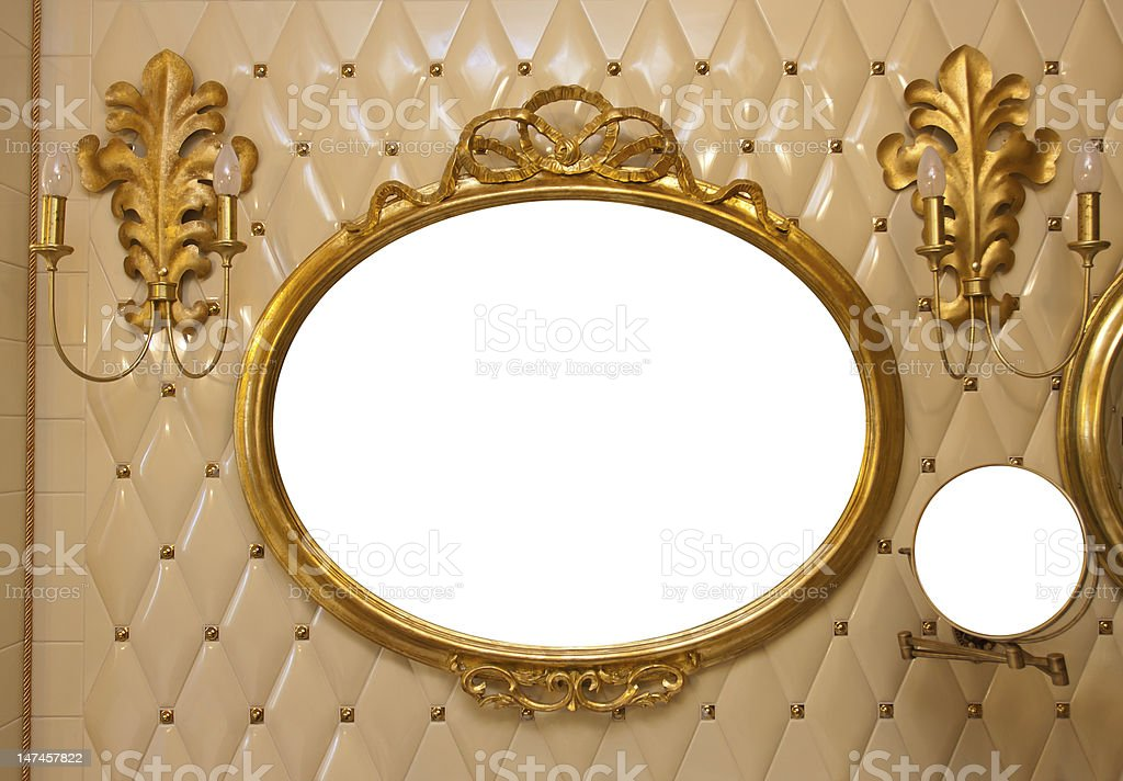 Luxury vintage mirror isolated inside royalty-free stock photo