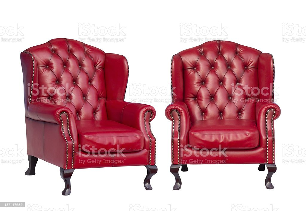 Luxury vintage red armchair stock photo