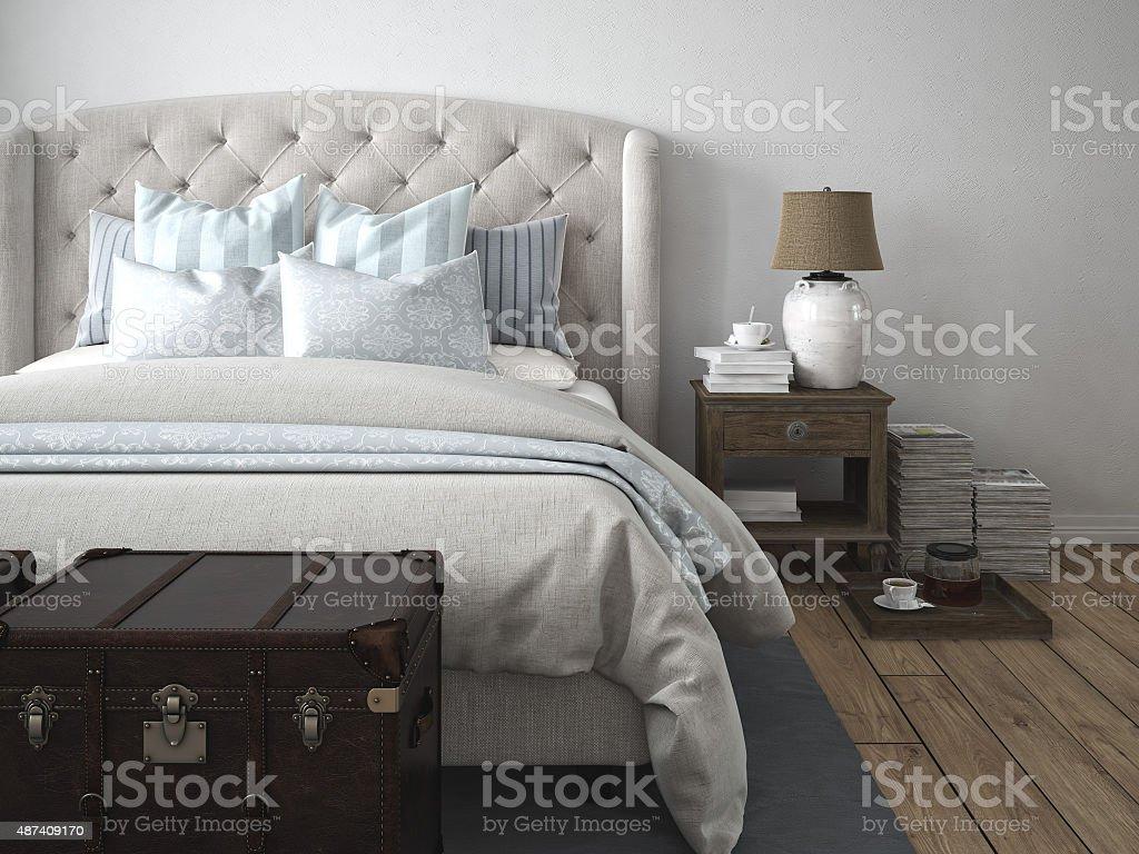 luxury vintage style bedroom. 3d rendering stock photo