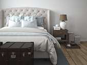 luxury vintage style bedroom. 3d rendering