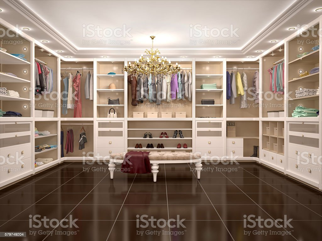 luxury wardrobe in modern style. stock photo