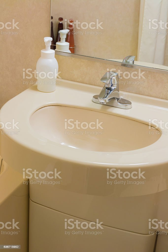 Luxury wash basin in a bathroom, an interior modern stock photo