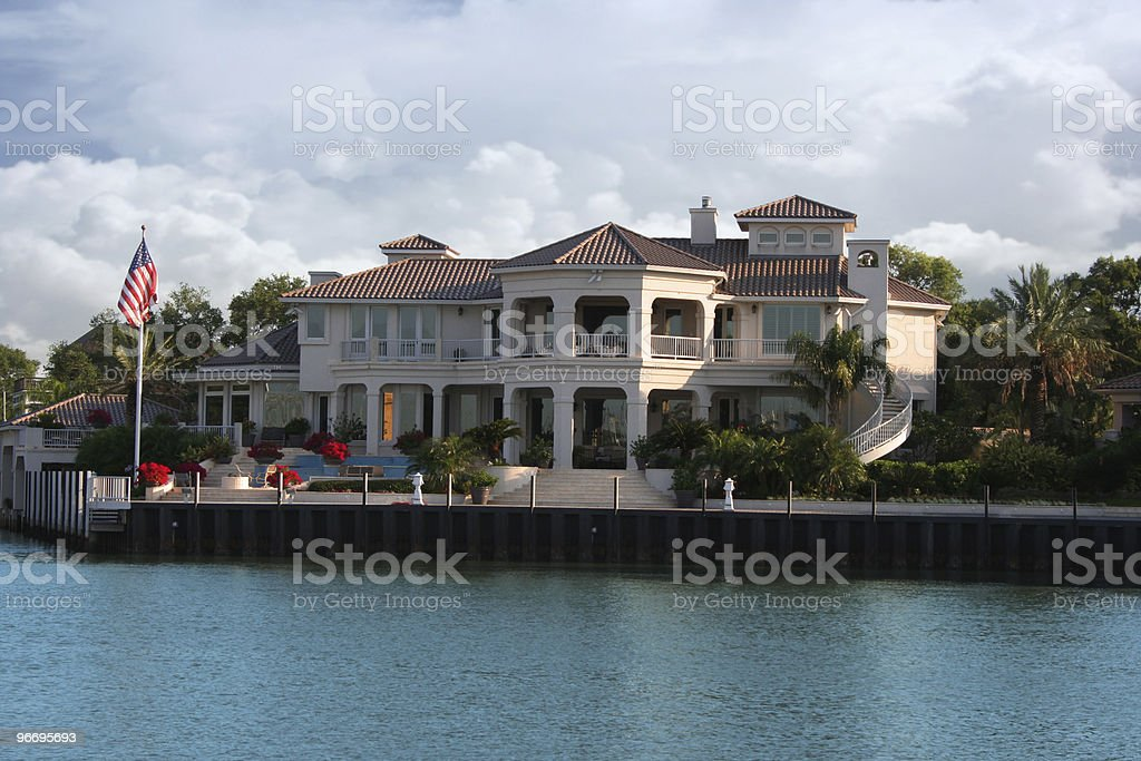 Luxury Waterfront Home in Exclusive Neighborhood royalty-free stock photo