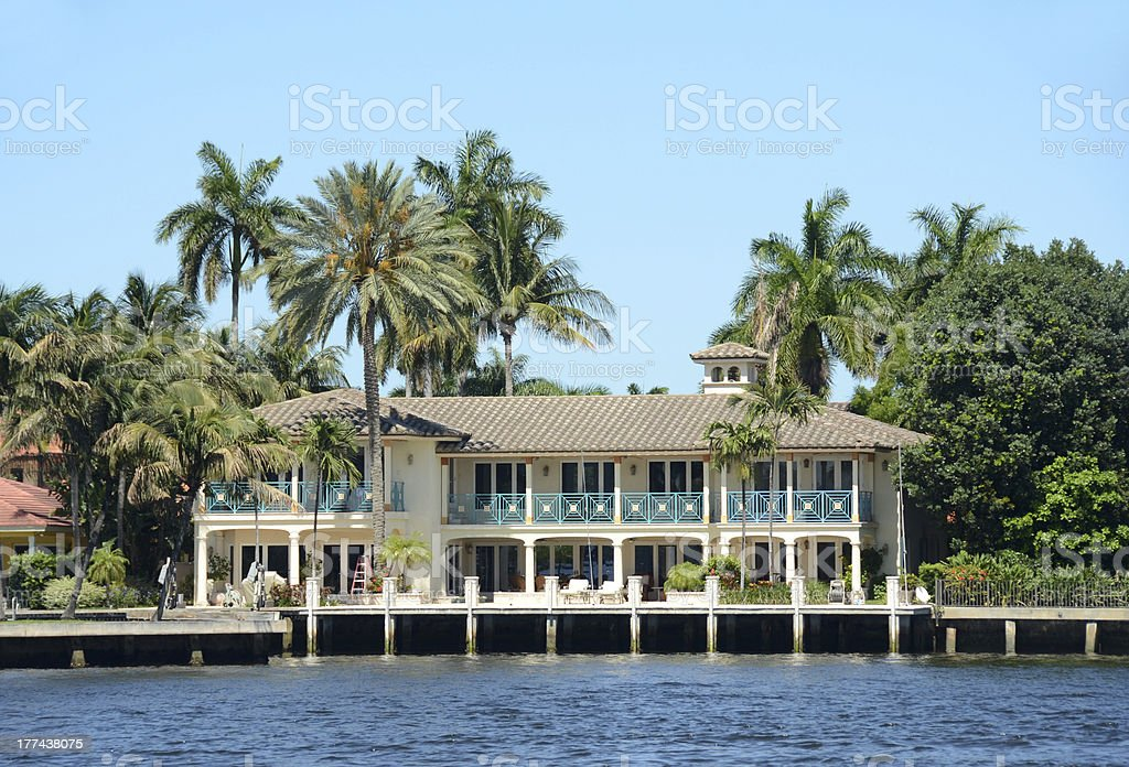 Luxury waterfront home in Florida royalty-free stock photo