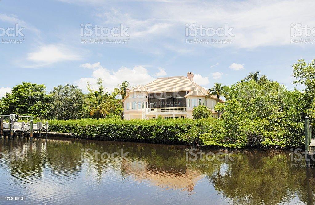 Luxury Waterfront Home on Punta Rassa Cove Florida stock photo