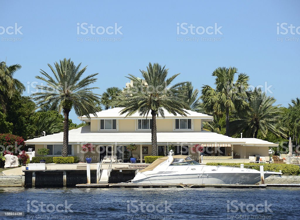 Luxury waterfront home stock photo