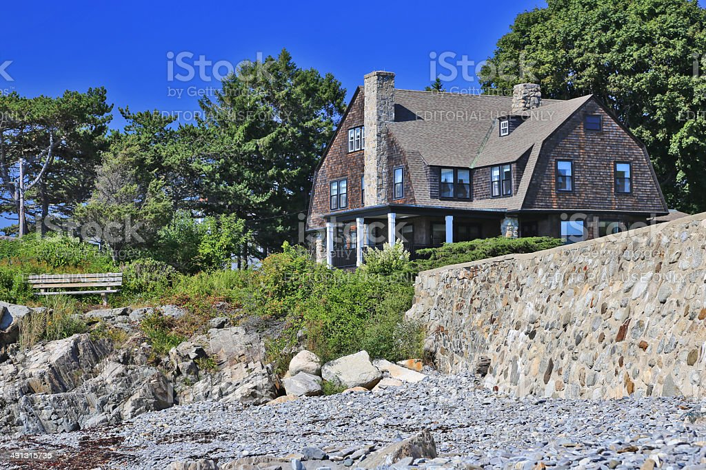 Luxury Waterfront House, Kennebunkport, Maine, New England, USA. stock photo
