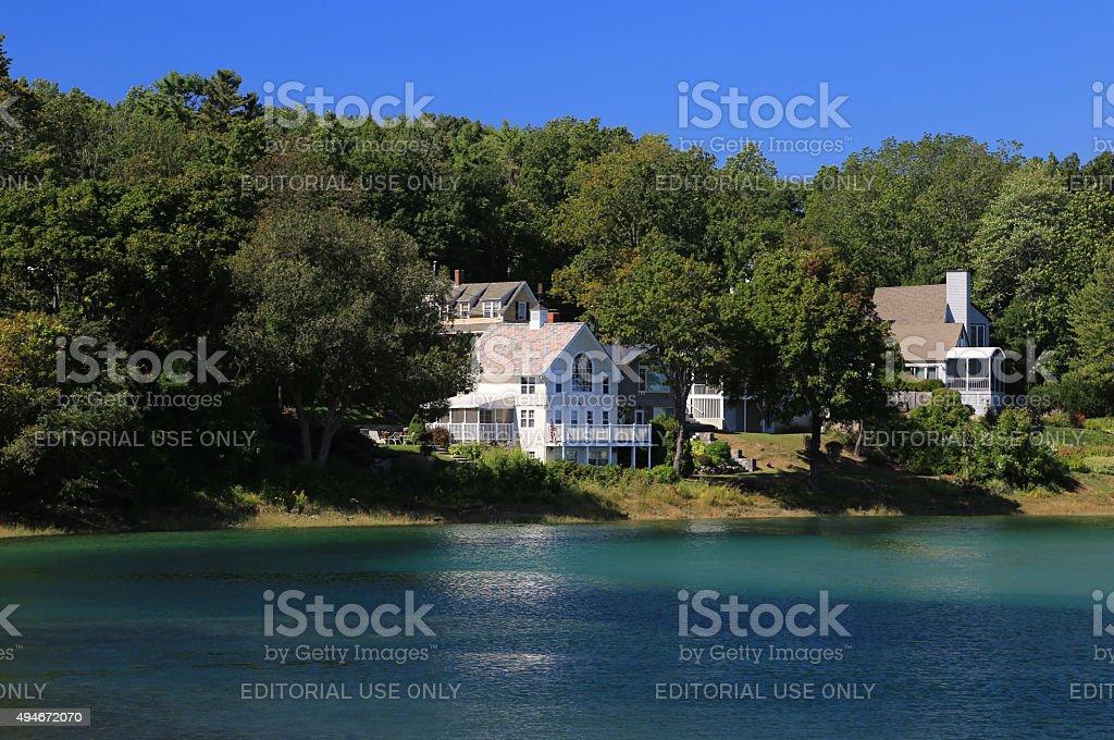 Luxury Waterfront House, Ogunquit, Maine, New England, USA. stock photo