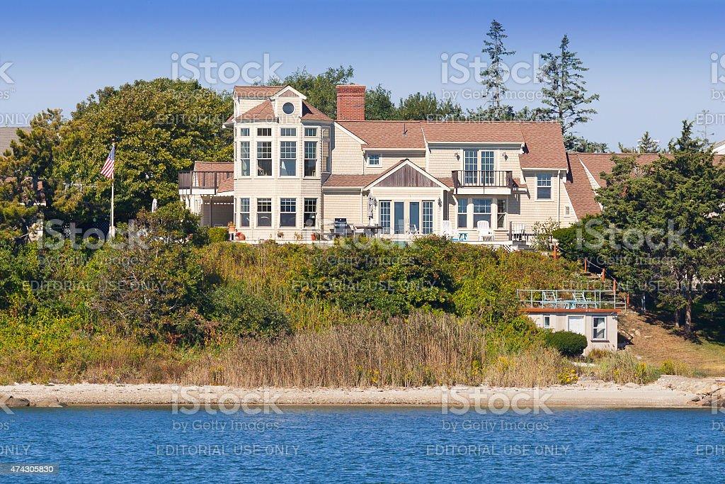 Luxury Waterfront New England House, Hyannis, Cape Cod, Massachusetts, USA. stock photo