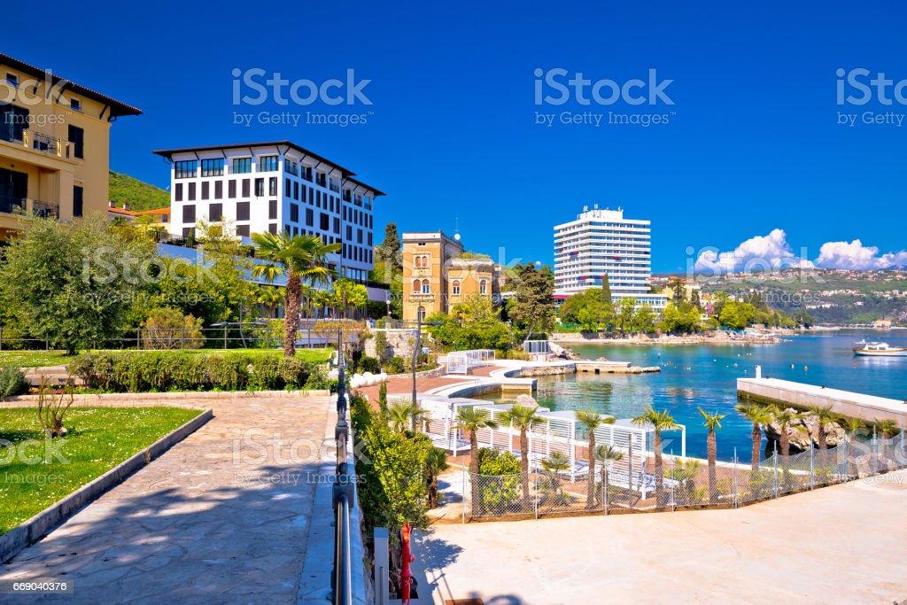 Luxury waterfront walkway in Opatija, Kvarner bay, Croatia stock photo