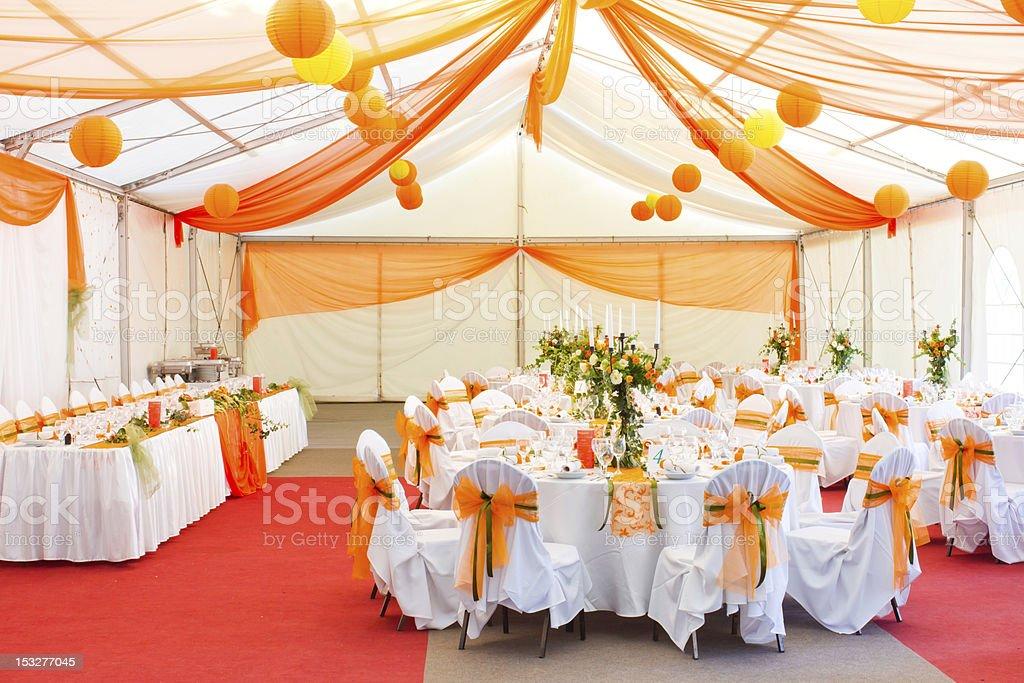 luxury wedding hall stock photo