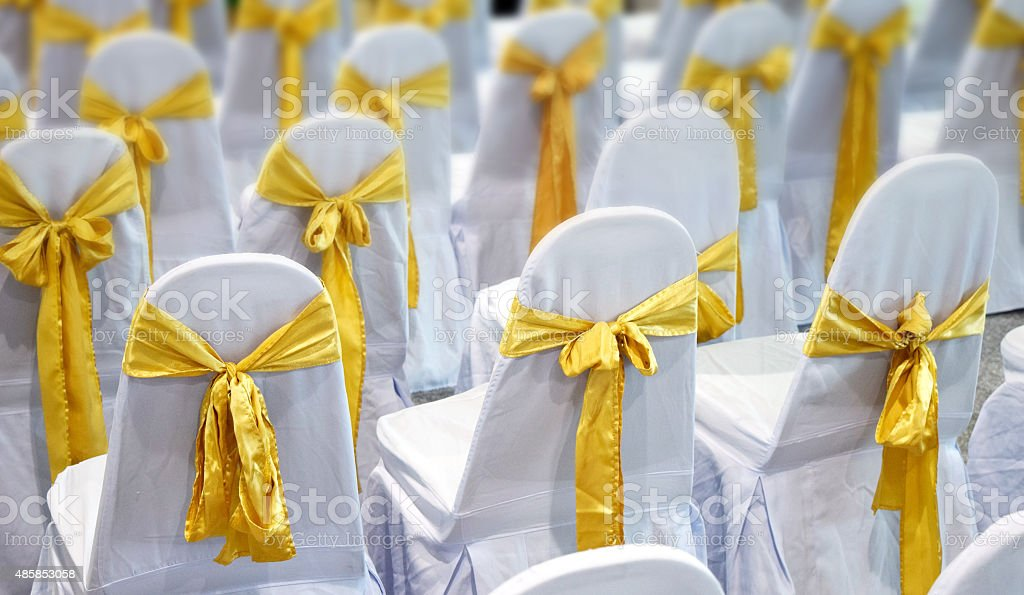 Luxury white Chair  and Gold bow tie in The gala stock photo