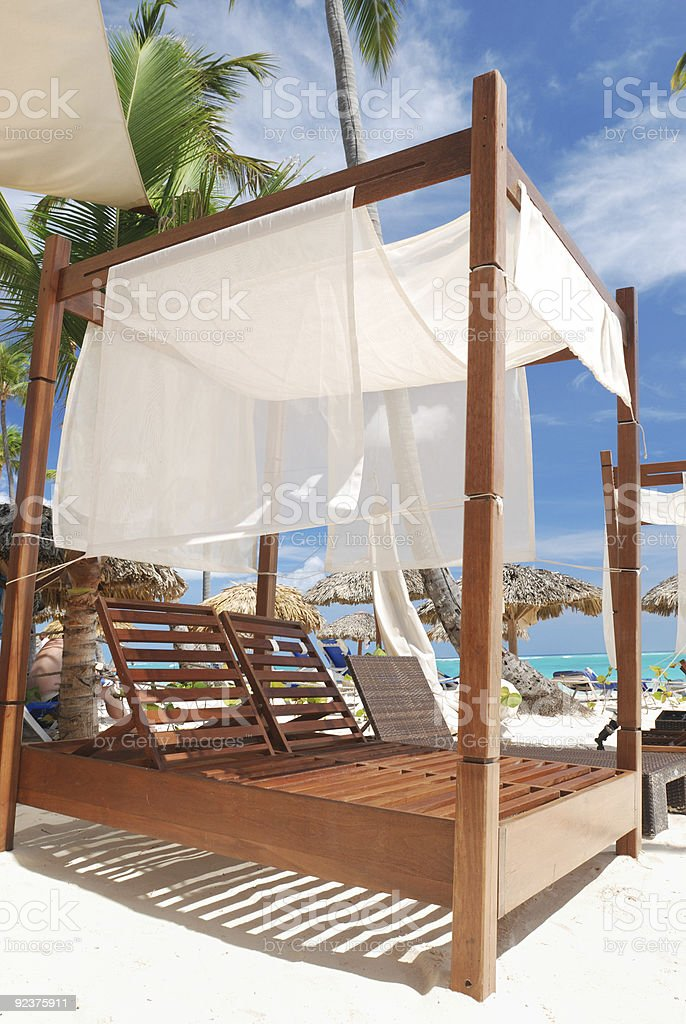 Luxury wooden chaise lounge royalty-free stock photo