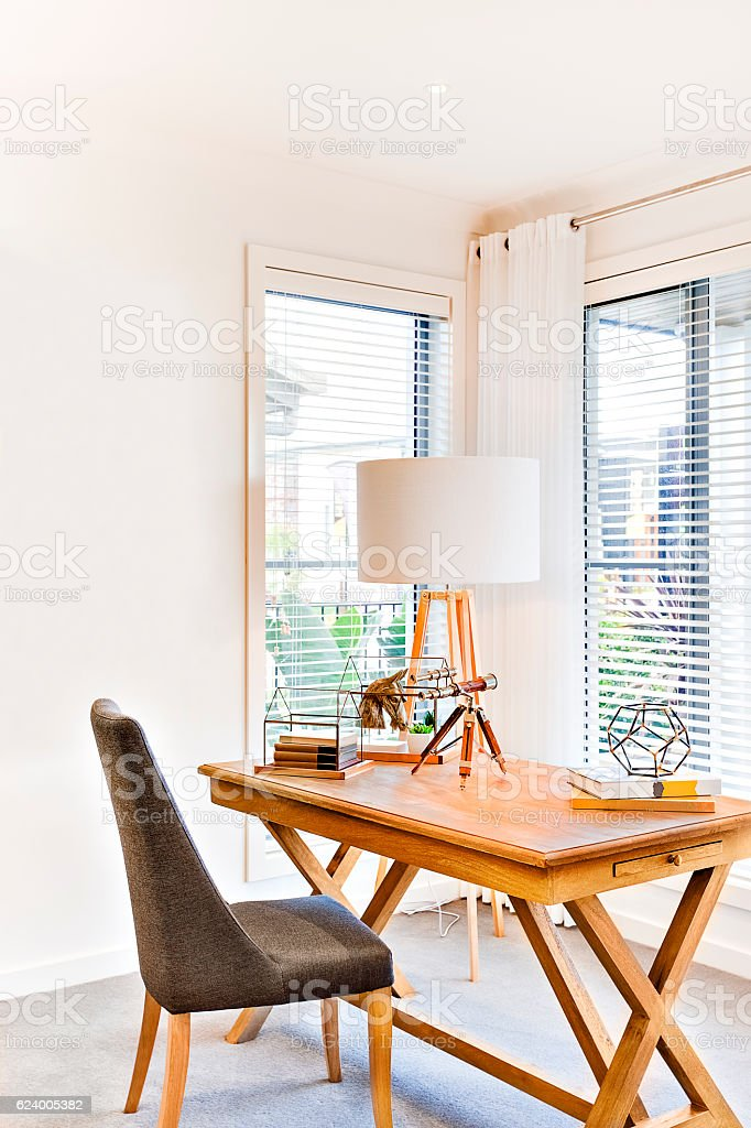 Luxury work area closeup with old wooden table stock photo