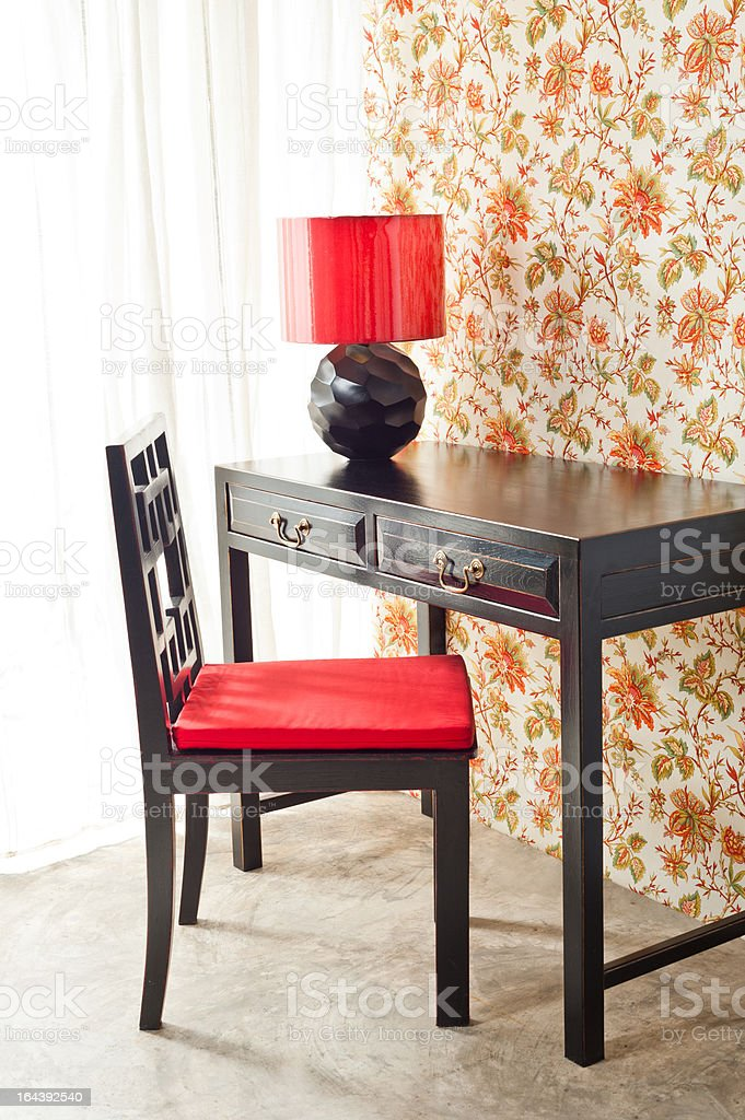 Luxury work desk with floral wallpaper royalty-free stock photo