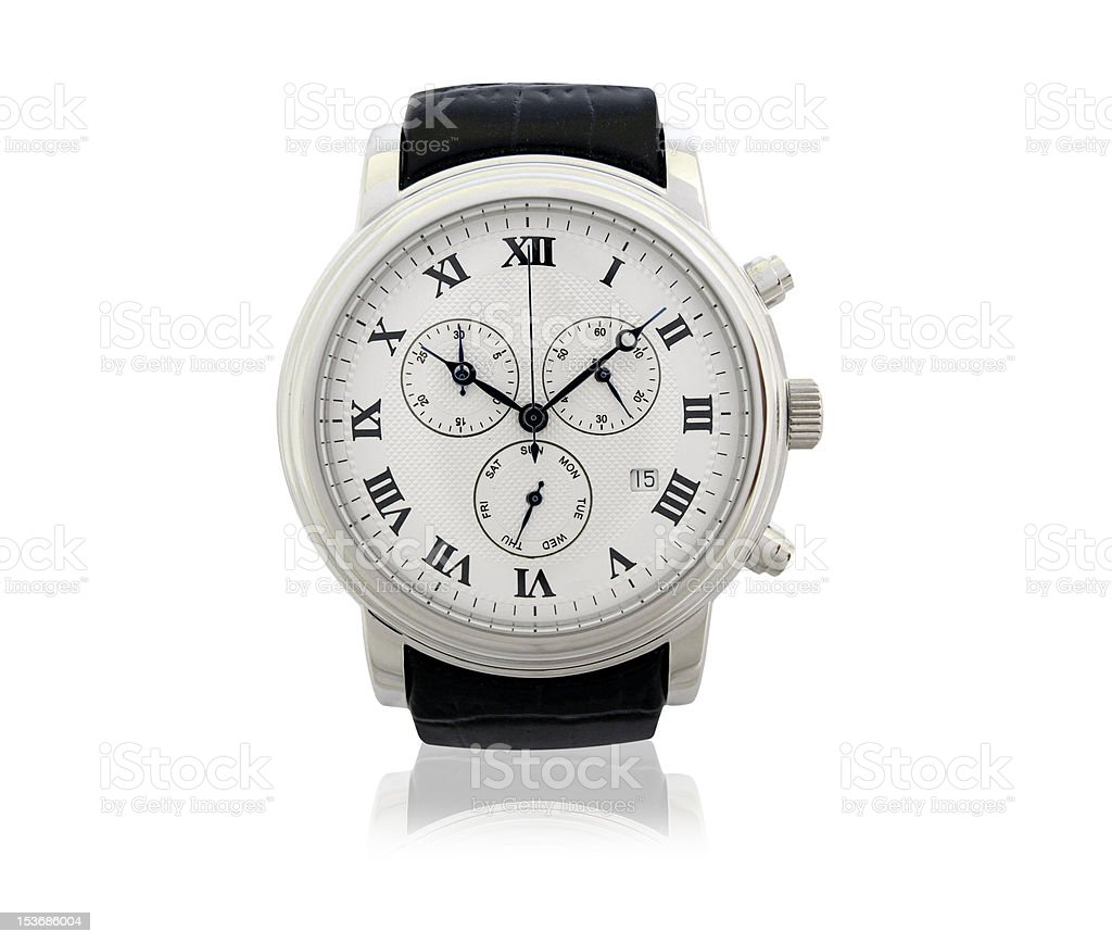 Luxury wrist watch on white with reflection stock photo