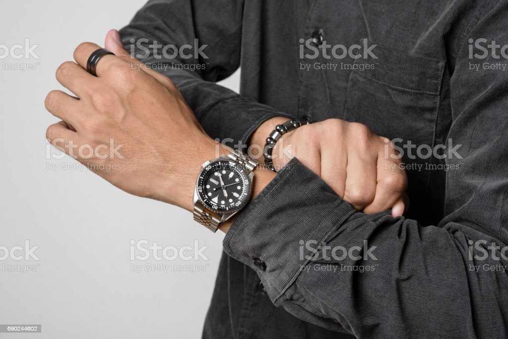 luxury wristwatch on the wrist stock photo