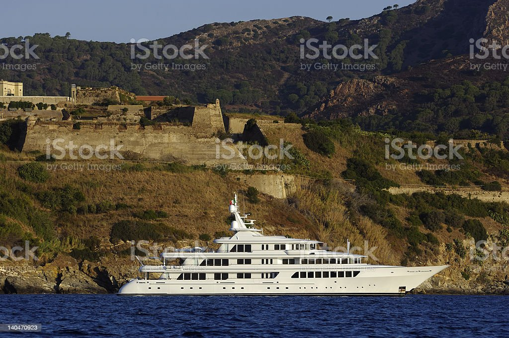 luxury yacht anchorage royalty-free stock photo