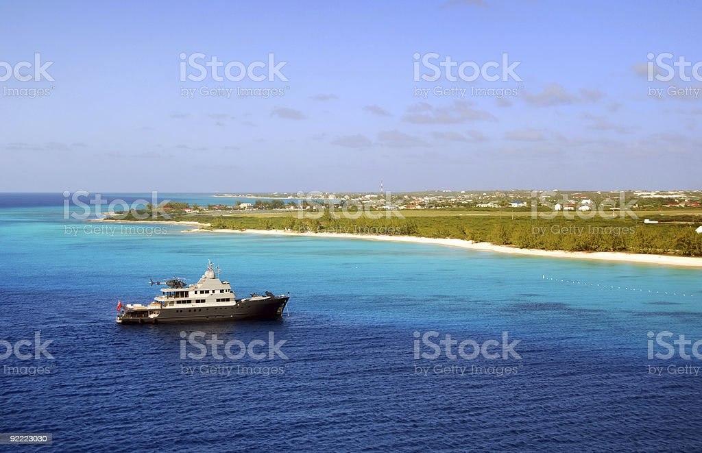 Luxury yacht and helicopter royalty-free stock photo
