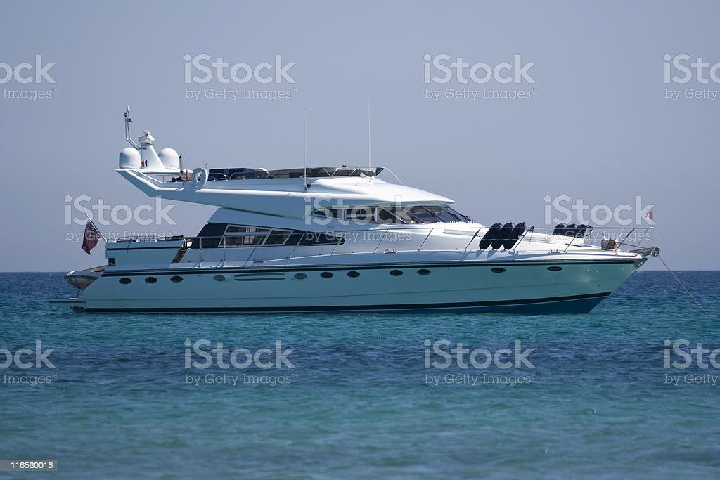 luxury yacht at anchor royalty-free stock photo