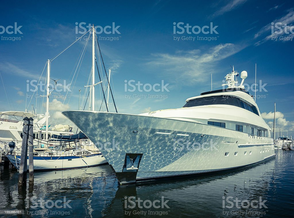 luxury yacht at coconut grove marina stock photo