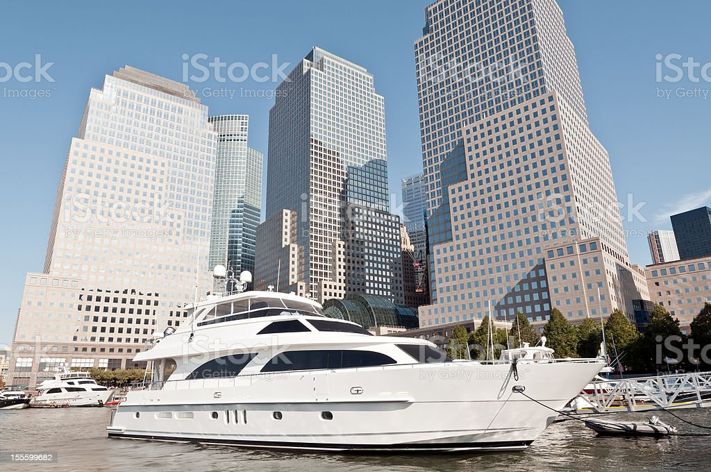 Luxury yacht in front of World Financial Center, NYC royalty-free stock photo