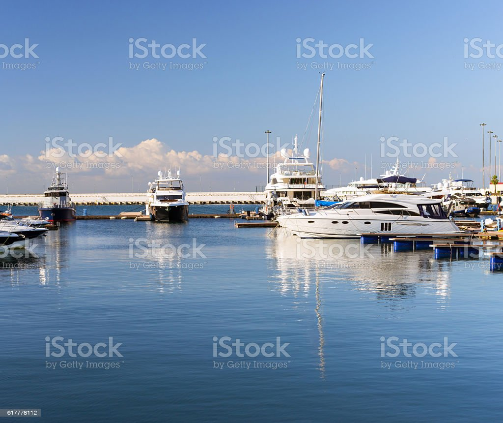 Luxury yacht in Sochi seaport, Russia stock photo