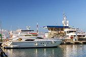 Luxury yacht in Sochi seaport, Russia