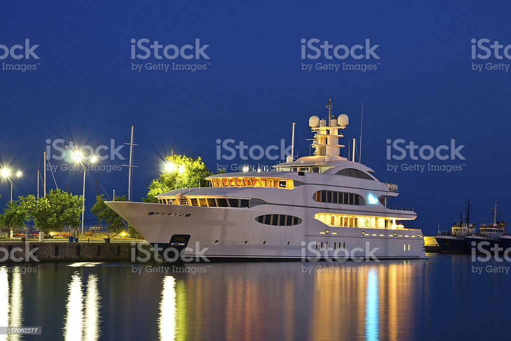 Luxury yacht in the port stock photo