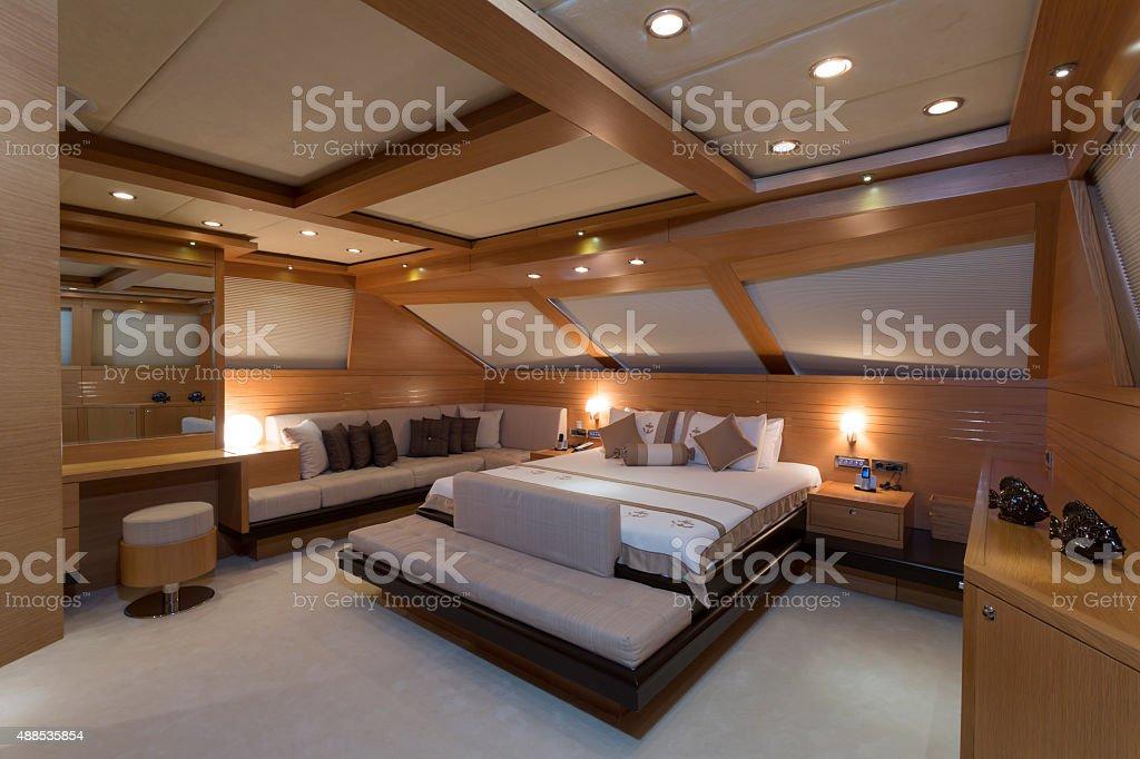 Luxury yacht interior, yacht cabin stock photo