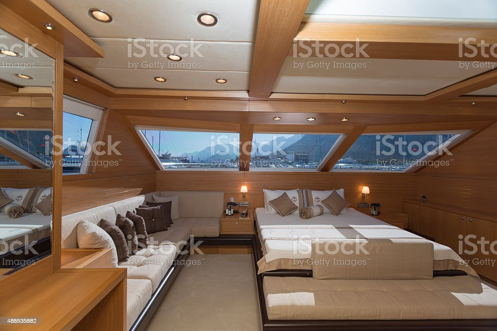 Luxury yacht interior, yacht cabin stock photo