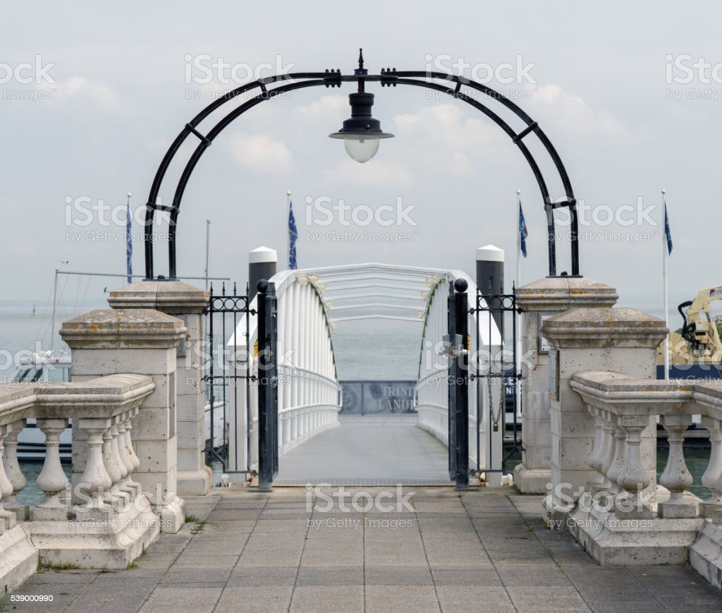 Luxury Yacht marina entrance stock photo