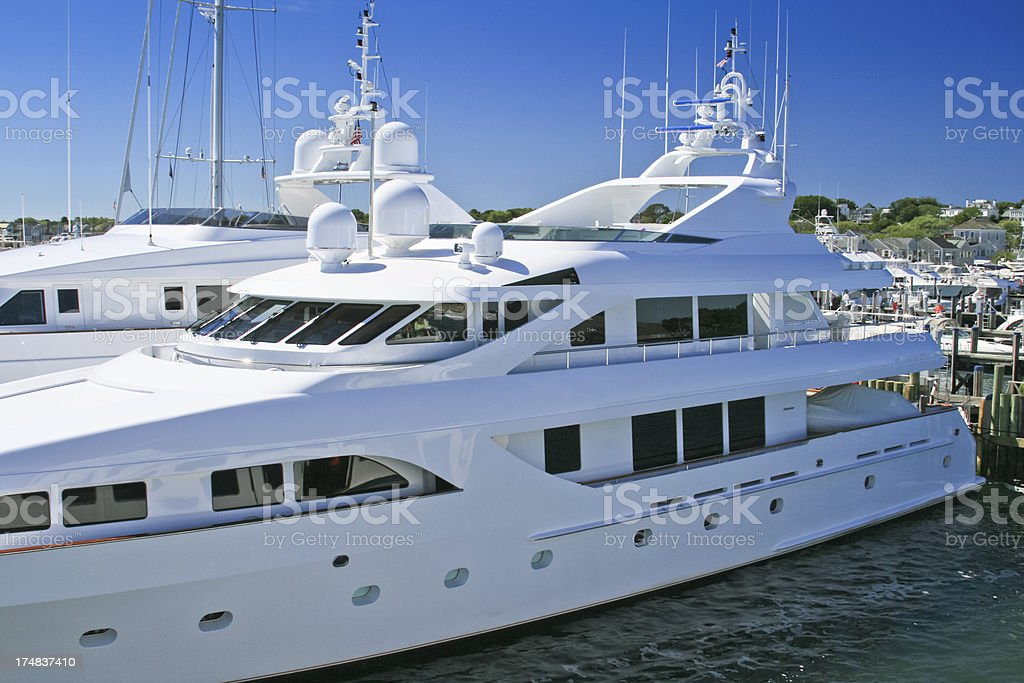 Luxury Yacht parked at Nantucket Marina. royalty-free stock photo