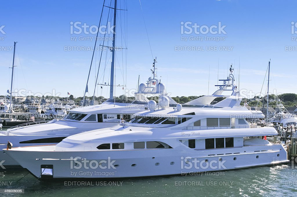 Luxury Yacht parked at Nantucket Marina. royalty-free stock photo