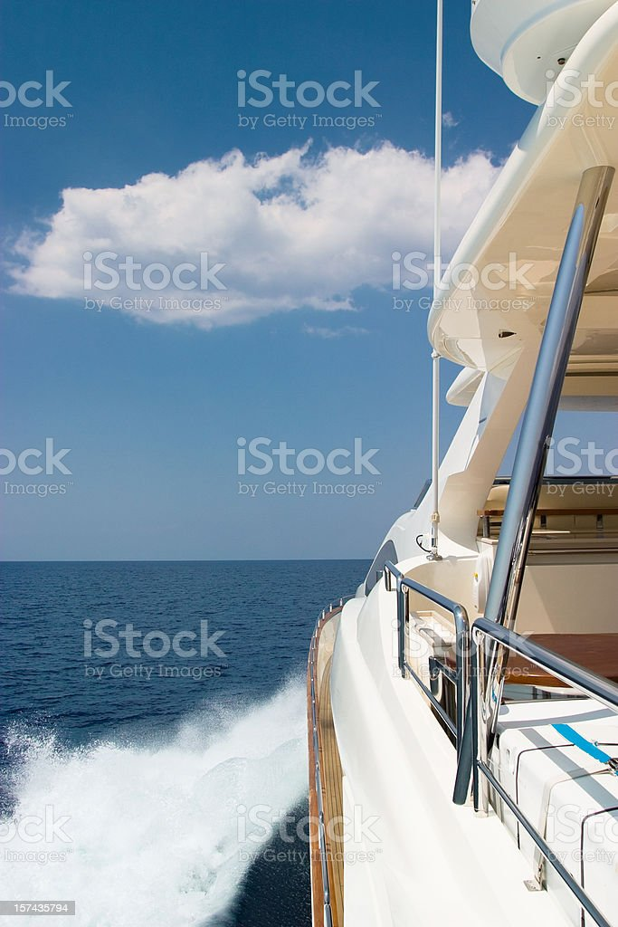 Luxury yacht sailing at high speed royalty-free stock photo