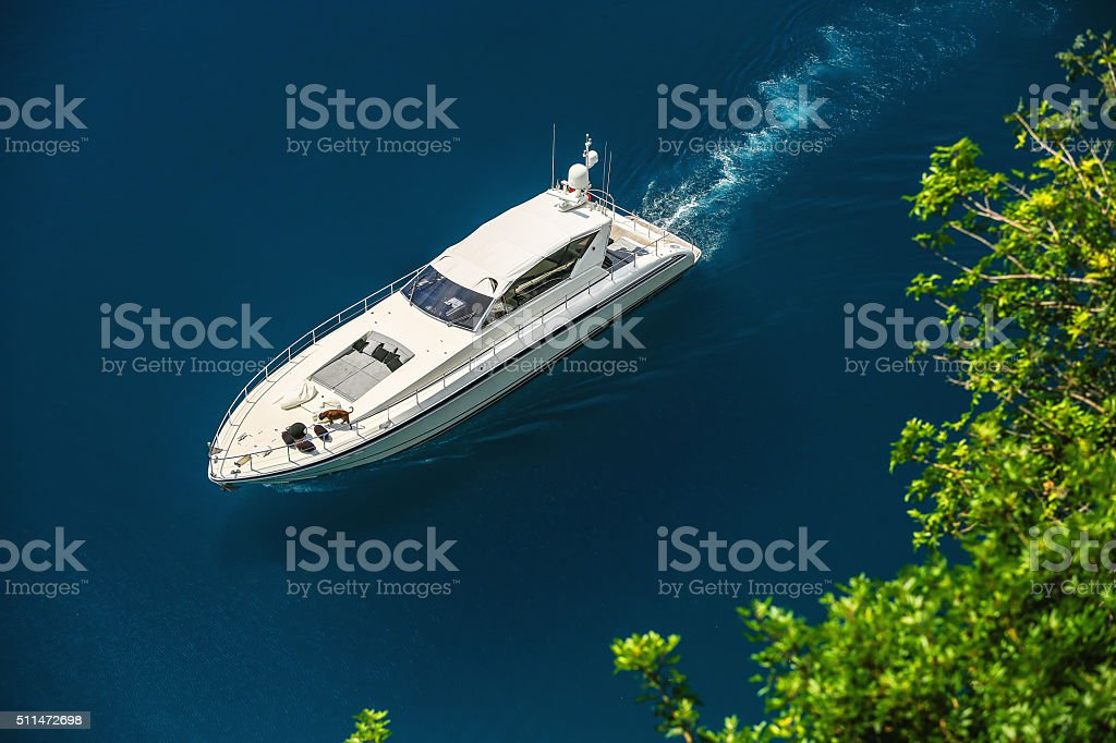 Luxury yacht sailing in Mediterranean Sea near French Riviera, M stock photo