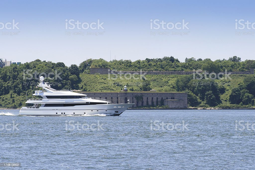 Luxury Yacht sailing in New York Harbor. royalty-free stock photo