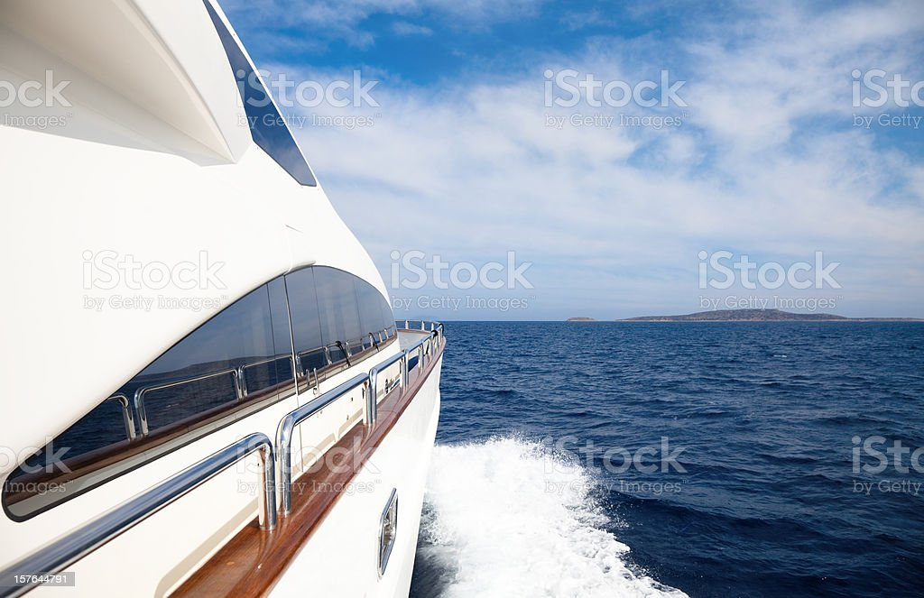 Luxury yacht sailing in the ocean stock photo