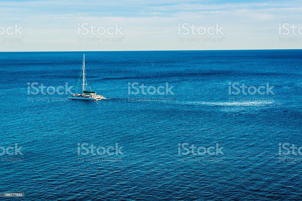 Luxury yacht sailing stock photo