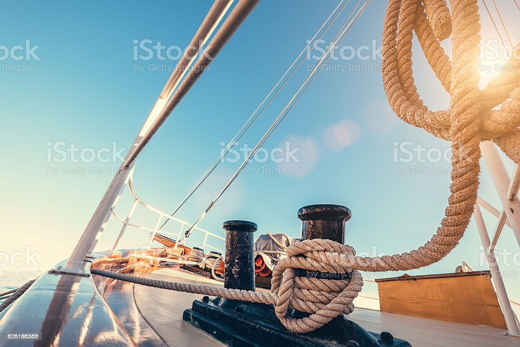 Luxury yacht tackle during the ocean voyage stock photo