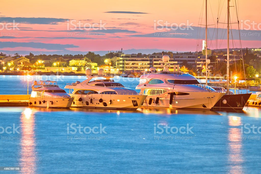 Luxury yachts at Zadar harbor evening view stock photo
